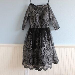 ModCloth Chi Chi London silver black formal dress